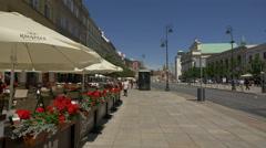 Zapiecek outdoor restaurant on Krakowskie Przedmiescie street in Warsaw Stock Footage