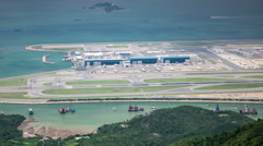 Airport and runways, terminals, aircrafts and airplanes, takeoff and landing. Stock Footage