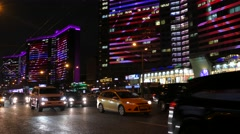 Russia. Moscow - 2015: 4K V Nigth traffic at the New Arbat Street Stock Footage