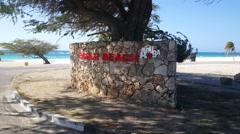 Eagle beach entrance at Aruba Stock Footage