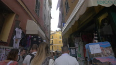 Narrow street with shops in Vernazza, Cinque Terre Stock Footage