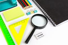 School Stationary .white list - stock photo