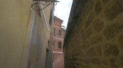 Narrow street and old buildings in Vernazza, Cinque Terre Stock Footage