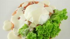 Sandwich with salmon, mozzarella and cream sauce, closeup Stock Footage