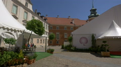 White tents at the Royal Castle courtyard, Warsaw Stock Footage