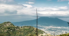 Timelapse - View on Vesuv volcano, Piemonte, Italy Stock Footage