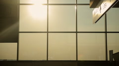 Silhouettes of people at airport of Malpensa in Milan Stock Footage