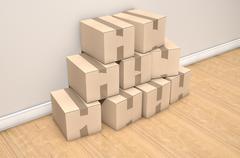 Cardboard Box Pile House Stock Illustration