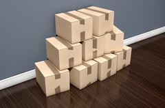Cardboard Box Pile House - stock illustration
