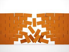 Orange crashed brick wall - stock illustration