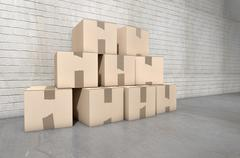 Cardboard Box Pile Industrial Stock Illustration