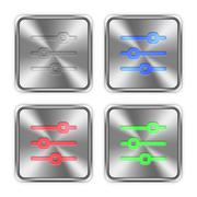 Color horizontal adjustment steel buttons Stock Illustration