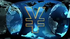 Earth and Yen Stock Footage