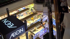 Aeon super market,a huge shopping mall in tianhe guangzhou,China Stock Footage