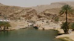 Scenic canyon Wadi Bani Khalid in oman 4K UHD - stock footage