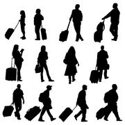 Various poses of men women and children traveling with luggage Stock Illustration