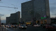 Russia. Moscow - 2015: 4K V Evening traffic at the New Arbat Street Stock Footage