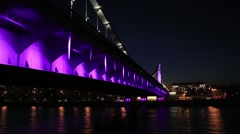 Crimean bridge at night. Evening Moscow Stock Footage