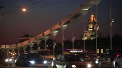 Moscow. Krymsky Bridge on the background of the Interior Ministry building - stock footage