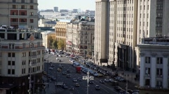 Moscow. The movement of cars on the street Okhotny Ryad Stock Footage