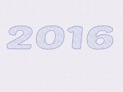 2016 written as a sketch on paper - stock illustration