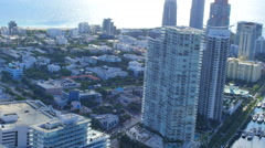 Miami Beach helicopter aerial video 2 Stock Footage