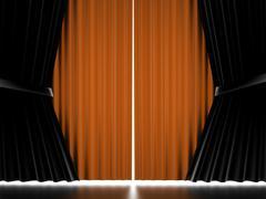 Orange curtain on stage rendered Stock Illustration