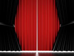 Red and black curtain concept rendered Stock Illustration