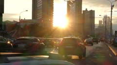 Russia. Moscow - 2015: 4K V New Arbat Street and sun raysrbat Street Stock Footage