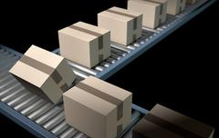 Roller Conveyor With Boxes Stock Illustration