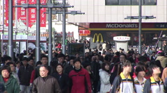 Chinese crowd, shopping street, McDonalds Stock Footage