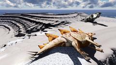 Dead dinosaurs on island - stock illustration