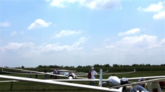 Gliders waiting to go into the air - stock footage
