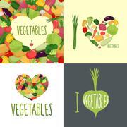 Stock Illustration of I love vegetables. Set of logos for food lovers. Symbol heart of vegetables: