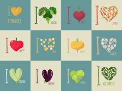 Set of I love vegetables: Eggplant and cucumber. Symbol of heart of  carrots  - stock illustration