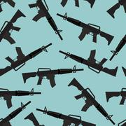 Stock Illustration of Automatic rifle M16 seamless pattern. Arms on blue background. Military ornam
