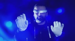 Virtual reality glasses concept, futuristic hacker in white gloves 4k Stock Footage