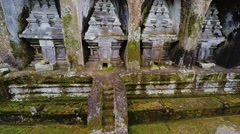 Aerial drone footage in Gunung Kawi Tample on a Bali island Stock Footage