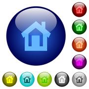 Stock Illustration of Color home glass buttons