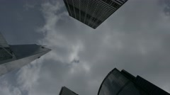 Skyscrapers in business centre, Hong Kong. Static shot. Flat picture profile. - stock footage