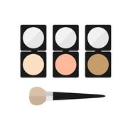 Makeup mineral powder flat icon Stock Illustration