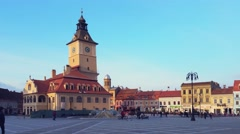 Council Square and the old City Hall, Brasov, Romania Stock Footage