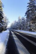 winter road  . track. - stock photo