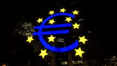 Euro Symbol on Willy Brandt Platz Frankfurt Germany Stock Footage