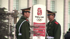 Chinese soldiers laughing, Tiananmen, China Stock Footage