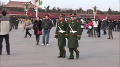 Chinese military guards, Tiananmen Square Stock Footage