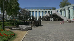 Warsaw Uprising Monument in front of the Supreme Court in Warsaw Stock Footage