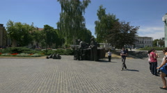 Part of the Warsaw Uprising Monument in Warsaw Stock Footage