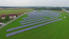 Aerial View Solar Panels Producing Energy Stock Footage