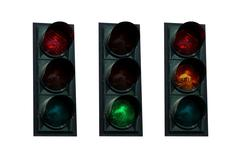Traffic lights red green yellow Stock Photos